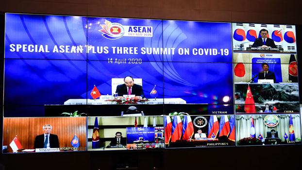 ກອງປະຊຸມສຸດຍອດ ທາງໄກ (Video Conference) ສມັຍພິເສດ ຂອງຜູ້ນໍາອາຊຽນ ແລະກອງປະຊຸມສຸດຍອດ ສມັຍພິເສດ ຜູ້ນໍາອາຊຽນ +3 (ຈີນ, ເກົາຫລີໃຕ້ ແລະ ຍີ່ປຸ່ນ) ກ່ຽວກັບການຣະບາດ ຂອງໂຄວິດ-19 ໄດ້ຈັດຂຶ້ນ ໃນມື້ວັນທີ 14 ເມສາ 2020.